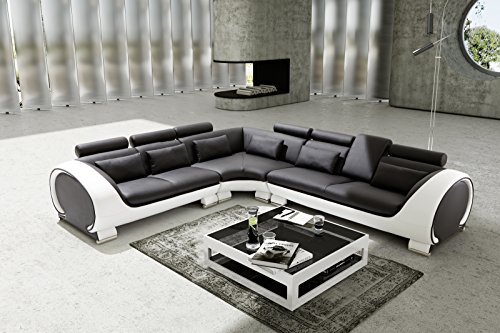 SAM® Ecksofa Vigo Combi 4 schwarz schwarz weiß 254,5 x 286,5 cm rechts Vigo designed by Ricardo Paolo® modisch zeitlos schlicht Ecksofa Eckcouch