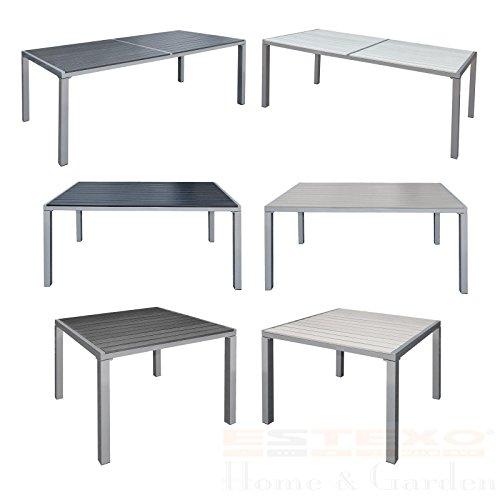 Gartentisch Alu WPC Terrassentisch Holzimitat Esstisch Gartenmöbel Tisch (190x90x72 cm, Schwarz)