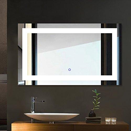 Tonffi® Badspiegel 100x60CM LED Spiegelleuchte 6000K Weiß 25W 5000LM Touch-Schalter IP44 SMD2835 Aluminiumrahmen 5mm Silberspiegel mit Beleuchtung Ra>75