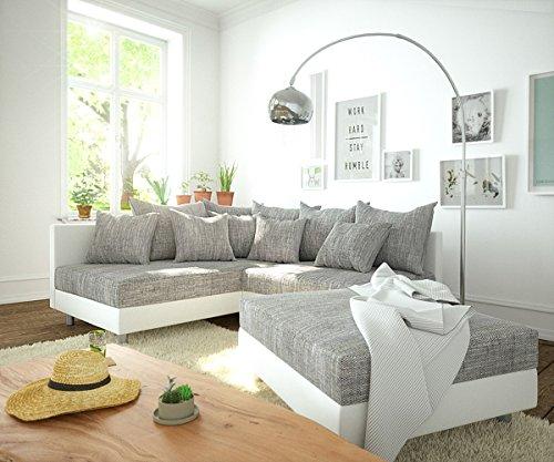 Couch Clovis modular - Ecksofa, Sofa, Wohnlandschaft & Modulsofa (Grau/Weiss, Ecksofa Links mit Hocker)