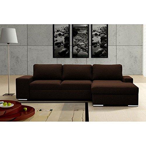 JUSTyou IMPULS Ecksofa Polsterecke Schlafsofa Echtleder (LxT): 270x168 cm Braun Ottomane rechts