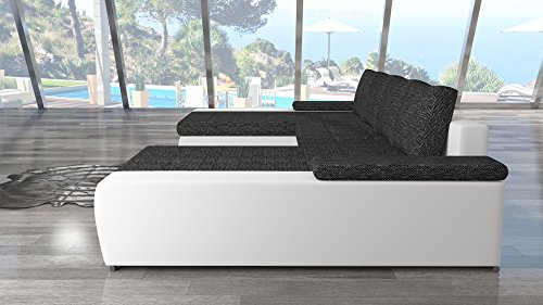 modernes eck sofa marino mit bett funktion couch mit robustem kunst leder und webstoff bezug. Black Bedroom Furniture Sets. Home Design Ideas