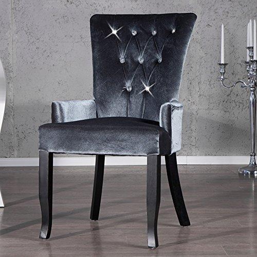 Design Stuhl Barocco mit Armlehne Samtstoff silbergrau mit Strasssteinen