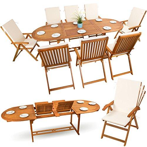 17-tlg Sitzgruppe Gartenmöbel Set Holzmöbel Essgarnitur Holz Sitzgarnitur Akazie geölt # 8x verstellbarer Klappstuhl # 1x ausziehbarer Klapptisch # 8x Sitz Auflagen # creme-weiss