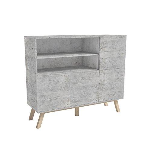 Selsey Vero Wood – Sideboard/Kommode mit offenen Fächern und Drehtüren (120 cm, Beton-Optik)