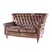 Vintage Chesterfield Sofa 2 Sitzer Ledersofa Braun Echtleder Antik Couch Design Sessel 469 2