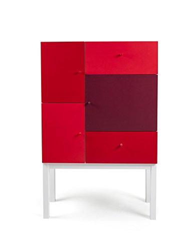 Tenzo 1972-428 Color Designer Schrank Holz, rot Mix / weiß, 36 x 79 x 123 cm