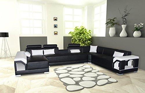 SAM® Ecksofa Zippora schwarz weiß 166 x 390 x 274 cm rechts