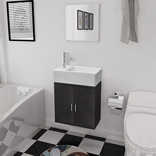 vidaXL 3tlg. Badmöbelset Waschbecken Spiegel Waschtisch Unterschrank Badezimmer