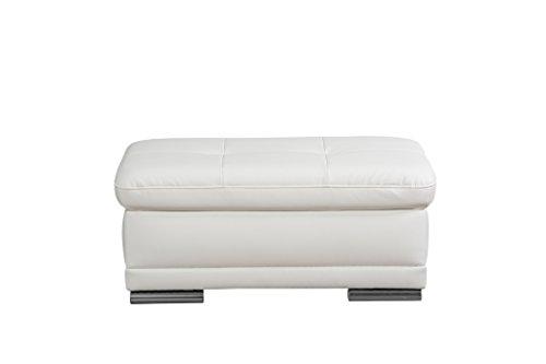 Cavadore Hocker Aniamo / Gepolsterter Hocker mit Wellenunterfederung / Größe: 100 x 43 x 67 cm (BxHxT) / Bezugsstoff in Kunstleder Pure White (weiß)