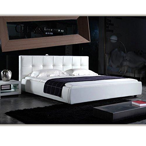 (180cm x 200cm) London Weiss Doppelbett Polsterbett Bettgestell Bett Lattenrost Kunstlederbett