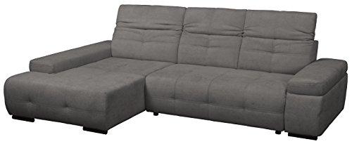 Cavadore Polsterecke Mistrel mit Ottomanen links / Eck-Couch mit Bettfunktion / Schlaffunktion / Kopfteilverstellung / Maße: 269 x 77-93 x 228 cm (B x H x T) / Farbe: Fango (dunkelgrau)
