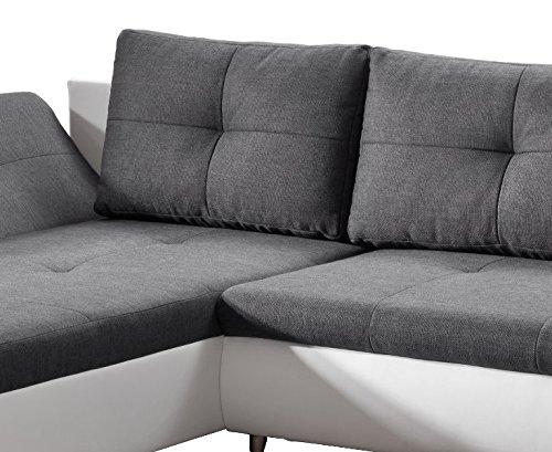 Cavadore 457 Polsterecke Coutre, Longchair-2er Bett, 325 x 89 x 186 cm, Toscana graphite-Bison pure white