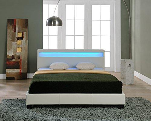 Corium LED Polsterbett (Paris) (weiss)(140x200cm) modernes Bett / Kunst - Leder / mit Lattenrost /