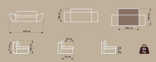 Schlafsofa mit Laminat-Bettkasten in Strukturstoff braun, Federkernpolsterung, 2 Rückenkissen, 2 Armlehnkissen, 2 Zierkissen, B/H/T ca. 230/100/95 cm