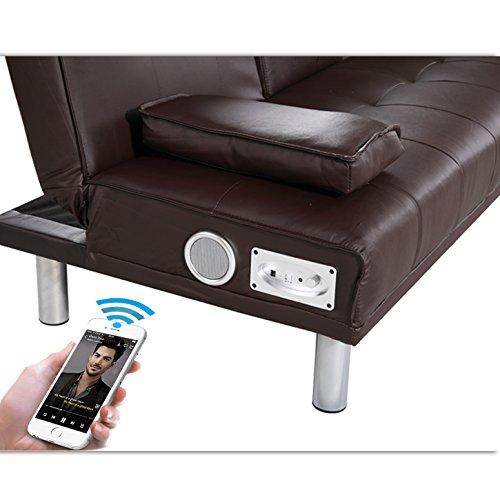 NEW MANHATTAN Funktionssofa m Bluetooth Braun Schlafsofa Sofa Kunstleder Bettsofa Couch