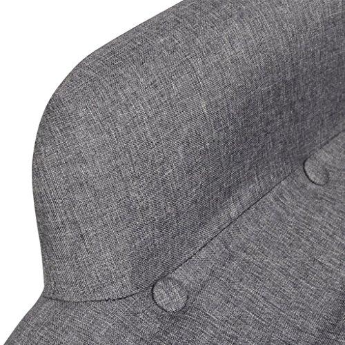 Gepolsterter Sessel mit Hocker grau