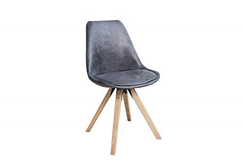 DuNord Design Stuhl Esszimmerstuhl 4er Set NEW STOCKHOLM Mikrofaser antik grau Eiche Vintage