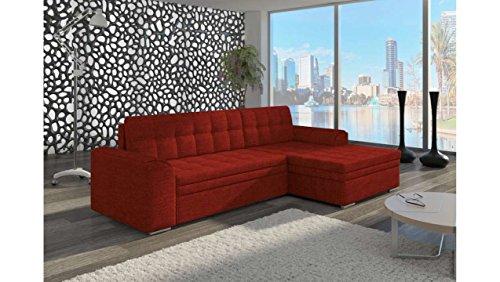 JUSTyou Conforti Ecksofa Polsterecke Schlafsofa Strukturstoff (BxLxH): 165x270x80 cm Rot Ottomane rechts