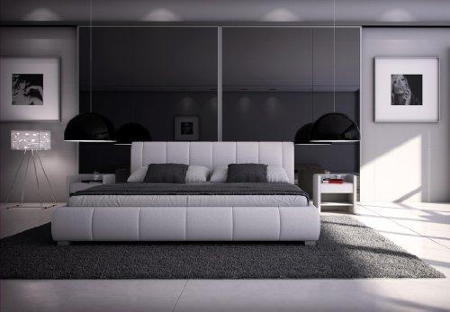 SAM® Polsterbett Innocent Designbett Latina, 160 x 200 cm in weiß, Kopfteil im modernen abgesteppten Design, Bettgestell auch als Wasserbett geeignet