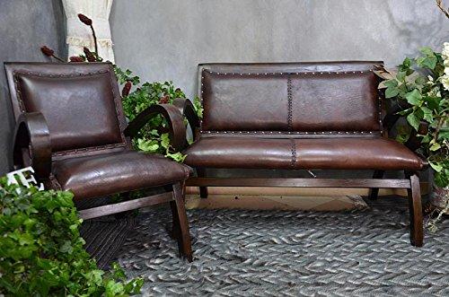 Clubsofa Ledersofa Sitzbank Sofa Braun Vintage Kolonial Stil Teak Holz