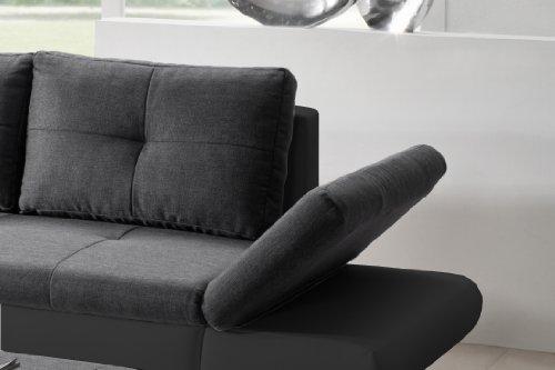 Cavadore 457 Polsterecke Coutre, Longchair-2er Bett mit Armteilfunktion, 325 x 89 x 186 cm, Toscana graphite-Bison schwarz