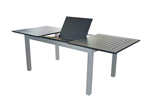 """Voll Aluminium Auszieh-Gartentisch """"Detroit"""" 150/210 x 90 cm mit Synchronauszug von Doppler in silber mit schwarzer Platte"""