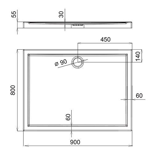 Duschwanne AQUABAD® Comfort Villa Flat 80x90cm Flach Rechteck