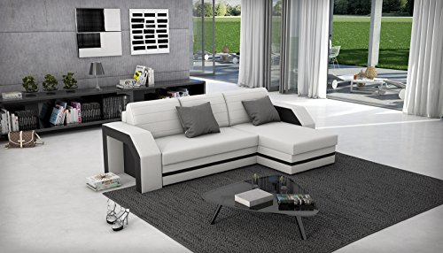 SAM® Ecksofa ACAPULCO weiß schwarzes Ecksofa 266 x 145 cm in futurisitschem Design mit einer pflegeleichten Oberfläche