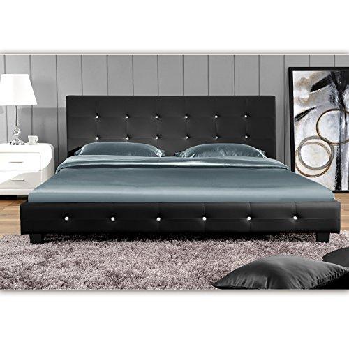 (Schwarz, 160cm x 200cm) Kalifornia Doppelbett Polsterbett Bettgestell Bett Lattenrost Kunstlederbett