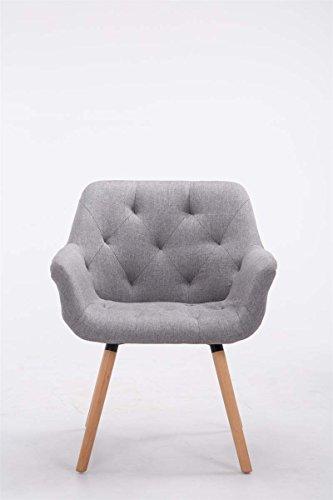 CLP Besucher-Stuhl CASSIDY, Stoff-Bezug, belastbar bis 150 kg, Retro-Stuhl mit Armlehne, sesselförmiger Sitz, gepolstert, Sitzhöhe 45 cm Grau, Holzgestell Farbe natura