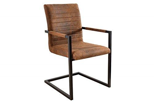 DuNord Design Stuhl Esszimmerstuhl NEW YORK Vintage braun Stahl schwarz Design Freischwinger