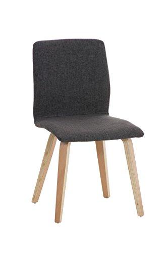 CLP Retro Besucher-Stuhl GRANAT, Polsterstuhl modern, Holzgestell, Stoffbezug Hellgrau