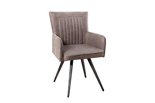 DuNord Design Esszimmerstuhl Stuhl RALLYE Mikrofaser antik grau taupe Retro Design Küchenstuhl