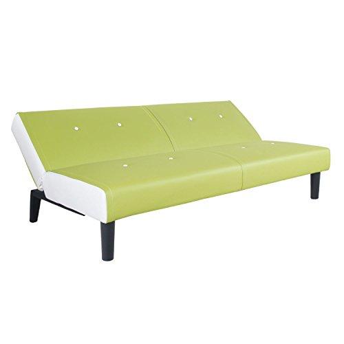 NEG Design Schlafsofa HELIOS (grün/weiß) mit Napalon-Leder-Bezug Klappsofa, 3-Sitzer, Liegefläche 179x108cm, sehr bequem