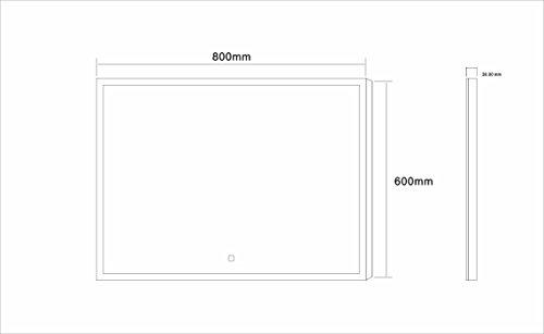 Dr. Fleischmann Badspiegel LED Spiegel GS042 mit Beleuchtung durch satinierte Lichtflächen Badezimmerspiegel mit Touch-Schalter (80 x 60 cm)