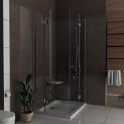 Hochwertige Eckeinstieg Duschkabine mit Nano Beschichtung aus ESG Glas 90x120 cm (Drehtür mit Festfeld) von Alpenberger 1