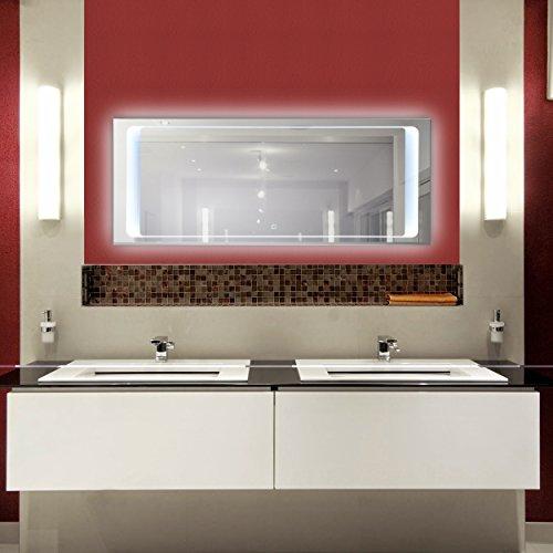KROLLMANN Badspiegel mit LED-Beleuchtung und Touch Sensor, 120 x 50 cm, 220-240V, Kristall Spiegel mit Tageslicht Badezimmerspiegel
