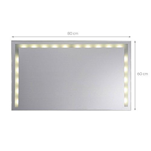 KROLLMANN 1606t LED Badspiegel – 80 x 60 cm – mit Druckschalter zum Ein- und Ausschalten, Badezimmer Wandspiegel mit satinierten Lichtflächen Energieeffizienzklasse A+