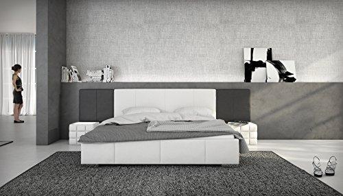 SAM Polsterbett 180x200 cm Natal, weiß/schwarz, Bett aus Kunstleder, abgesteppte Fuß- und Seitenteile, hohes Kopfteil