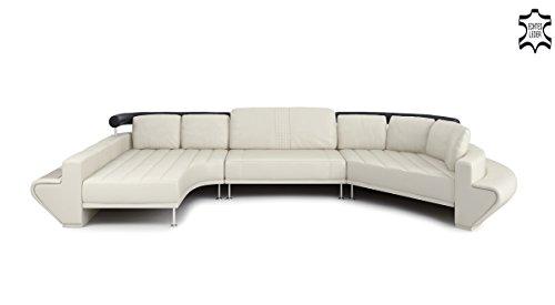ledersofa ledercouch u form braun schwarz l 39 aquila m bel24. Black Bedroom Furniture Sets. Home Design Ideas