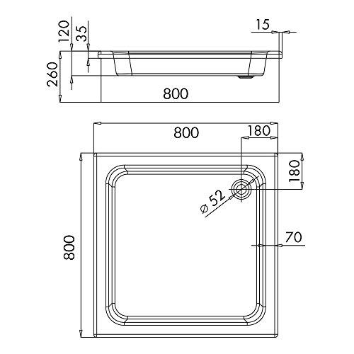 Duschwanne / Duschbecken Komplettset M01 | AQUABAD® Comfort Magno Maße: 80x80cm quadratisch / Höhe: 26cm | Styroporträger integriert, zum befliesen | inkl. Zubehör: Push Open Ablaufgarnitur McAlpine