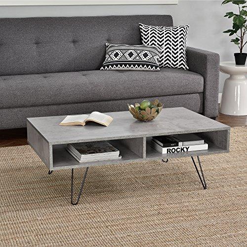 [en.casa]® Couch-Tisch Design MDF - Beton-Optik - 100x60x35cm - Beistelltisch Wohnzimmer mit Hairpinleg - 2 Ablageflächen