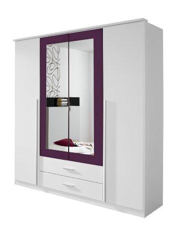 Rauch Kleiderschrank mit Spiegel 4-türig Weiß Alpin, Absetzung Brombeer Nachbildung, BxHxT 181x199x56 cm