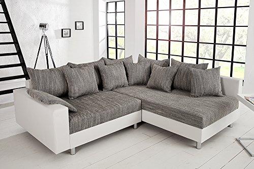 design ecksofa mit hocker loft weiss strukturstoff grau federkern sofa ot beidseitig aufbaubar. Black Bedroom Furniture Sets. Home Design Ideas