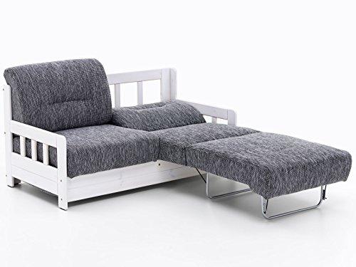 Schlafsofa Campus Grau Weiß Stoff Sofa Couch Massiv Holz Schlafcouch Bettfunktion