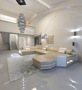 Wohnlandschaft Presto U-Form sandbeige - weiss Ecksofa Ledersofa ital. Design 2