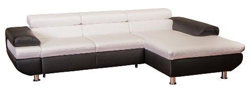 Cavadore 5011 Polsterecke Caponelle, 3-er Bett mit Kopfteilverstellung, Longchair, 279 x 72 - 88 x 177 cm, Kunstleder Bison, pure weiß / schwarz