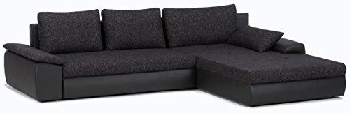 Cavadore 885 Polsterecke Peerly, 2-Sitzer mit Bettfunktion und Bettkasten, Longchair rechts, 309 x 82 x 213 cm, Sitz in Vilnius schwarz, Korpus in Poroflex Softy schwarz