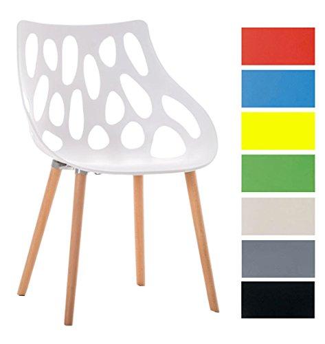 CLP Design Retro Stuhl HAILEY, max. belastbar bis 150 kg, Materialmix Kunststoff / Buchenholz, Sitzhöhe 44 cm Weiß